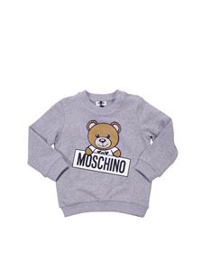 Moschino Kids - Grey melange cotton sweatshirt with Teddy Bear print