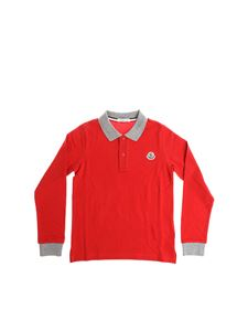 Moncler Jr - Red polo with grey trims