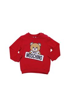 Moschino Kids - Red cotton sweatshirt with Teddy Bear print