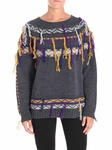 Pinko - Grey Acalypha pullover with multicolor embroidery