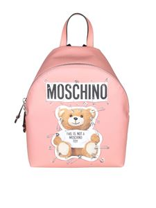 Moschino - Pink eco-leather backpack with logo print