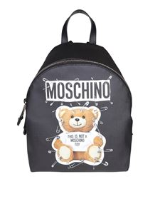 Moschino - Black eco-leather backpack with Teddy Bear print