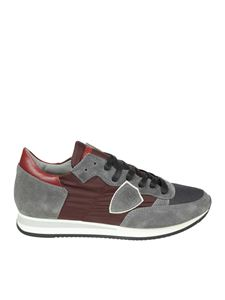 Philippe Model - Gray and burgundy Tropez Low sneakers