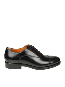 Santoni - Black brushed leather Oxford