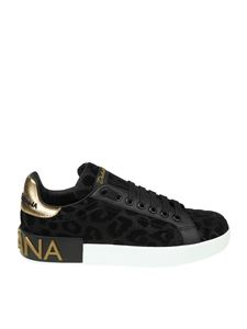 Dolce & Gabbana - Portofino black sneakers with animal print