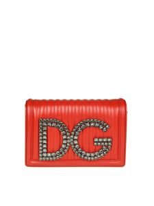 Dolce & Gabbana - Red matelassé leather clutch bag