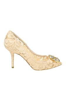 "Dolce & Gabbana - ""Bellucci"" apricot color lace pumps"