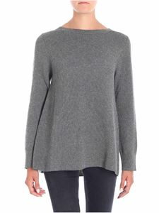 Kangra Cashmere - Grey fisherman ribbed flared pullover