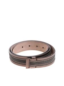 Brunello Cucinelli - Leather belt with micro beads