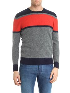 Drumohr - Grey red and blue lamb wool pullover
