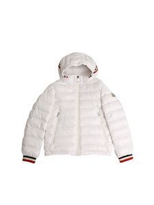 Moncler Jr - White Alberic down jacket with multicolor cuffs
