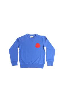 Moncler Jr - Electric blue sweatshirt with red logo insert