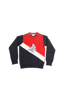 Moncler Jr - White, red and blue crewneck sweatshirt