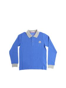 Moncler Jr - Electric blue polo with gray edges