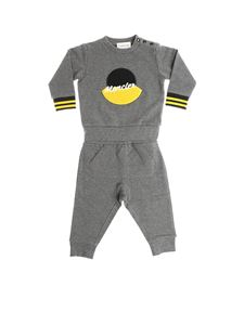 Moncler Jr - Gray jumpsuit with black and yellow logo
