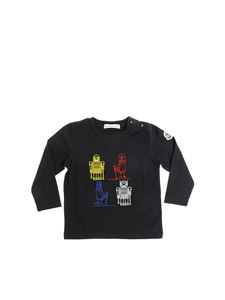 Moncler Jr - Black long-sleeved t-shirt with robot embroidery
