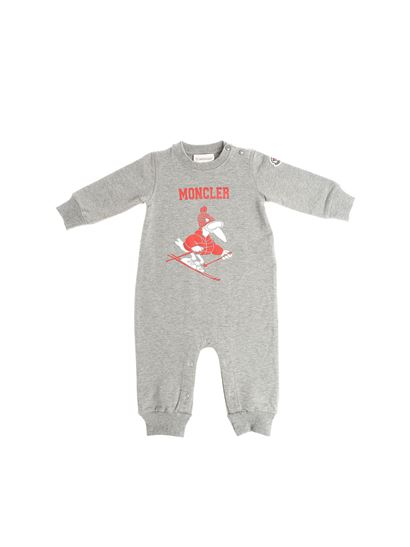 Moncler Jr - Gray romper with red and white logo print
