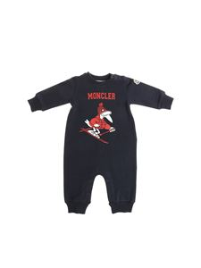 Moncler Jr - Blue romper with red and white logo print