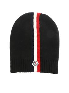 Moncler Jr - Black beanie with multicolor embroidery