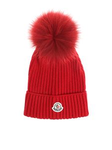 Moncler Jr - Red virgin wool beanie