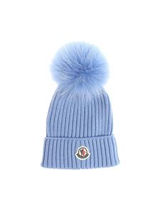 Moncler Jr - Light-blue virgin wool beanie
