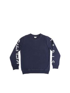 Kenzo - Blue sweatshirt with white logo print on the sleeves