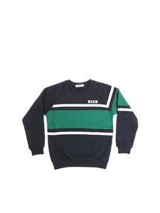 MSGM - Blue sweatshirt with green and white insert
