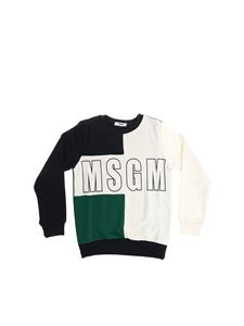 MSGM - Blue sweatshirt with white and green insert