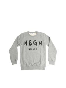 MSGM - Gray sweatshirt with black logo print