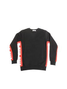 MSGM - Black sweatshirt with red branded inserts
