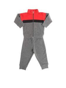 Moncler Jr - Gray jumpsuit with red and black inserts