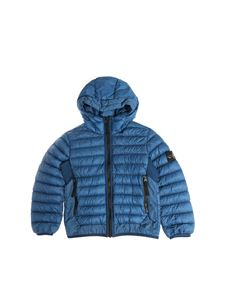 Stone Island Junior - Teal color quilted down jacket with logo
