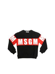 MSGM - Black sweatshirt with red and white logo print