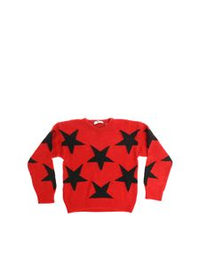 MSGM - Red pullover with embroidered black stars