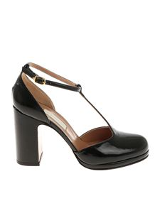 L'Autre Chose - Black patent leather T-strap sandals