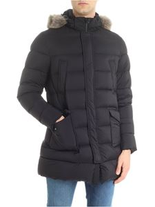 Herno - Black down jacket with removable fur