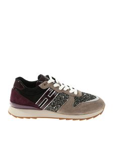 Hogan - R261 glitter black gray and plum sneakers