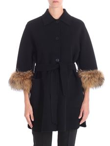 Max Mara Weekend - Black King coat with fur insert