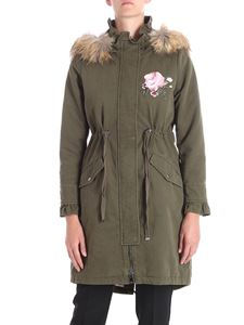 Twin-Set - Green parka with fur insert on the hood