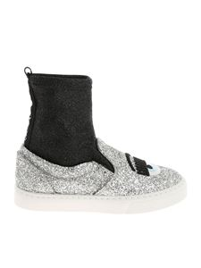 Chiara Ferragni - Silver glittered slip on with logo