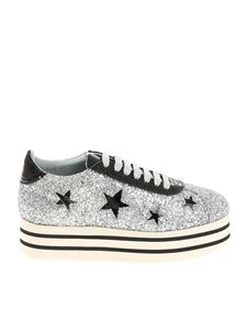Chiara Ferragni - Silver glittered sneakers with stars