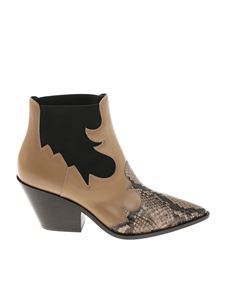 Casadei - Beige Texan ankle boots with python insert