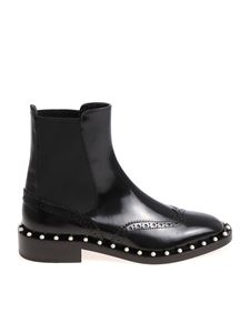 Twin-Set - Black Chelsea ankle boots with pearly inserts