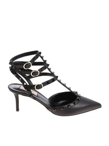 Valentino - Black Rockstud leather ankle strap shoes