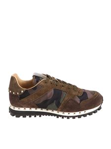 Valentino - Brown and green Camouflage Rockstud sneakers
