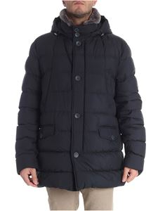 Herno - Dark blue down jacket with fur collar