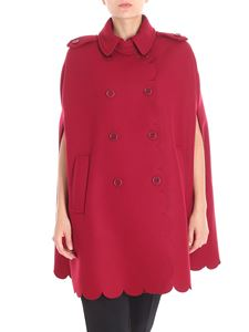 Red Valentino - Burgundy double-breasted cape