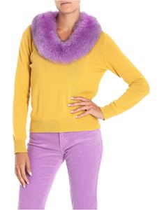 Blugirl - Yellow pullover with fur detail