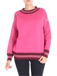 Moncler - Fuchsia sweatshirt with knitted edges