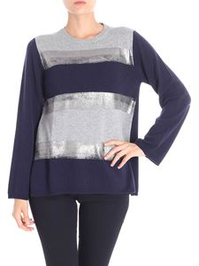 Kangra Cashmere - Blue and grey striped pullover